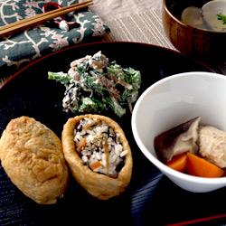 五目いなり寿司/菜の花の白和え/含め煮/はまぐりの潮汁